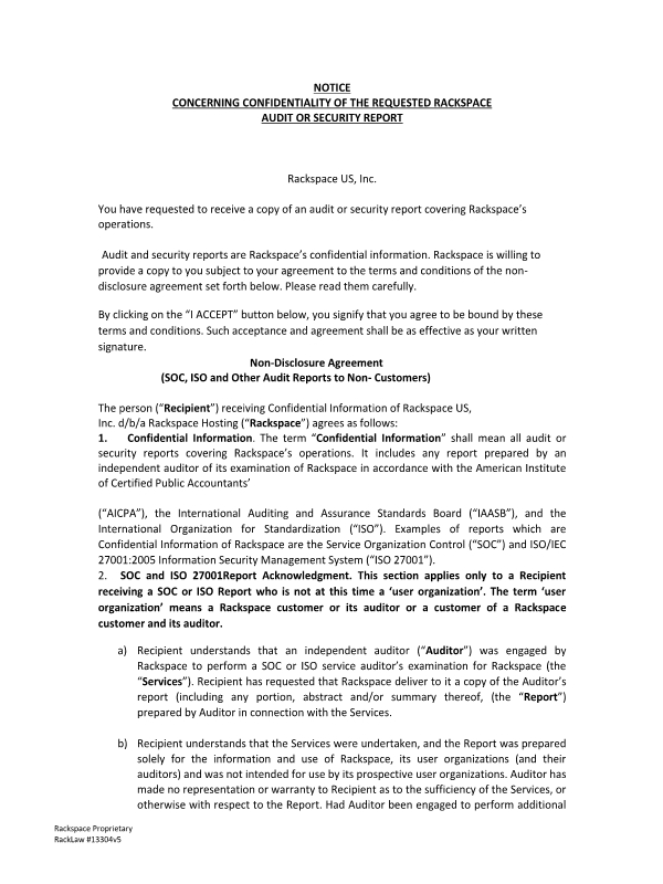 Notice Concerning Confidentiality Of The Requested Rackspace Audit